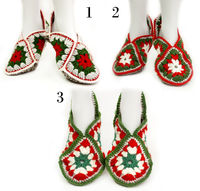 Mans, womens and children's crochet slippers, as a traditional Christmas gift, natural mohair and wool house slippers socks. Granny square. $30.00