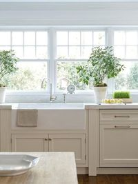 Cottage and Vine: Tan Kitchen Cabinets