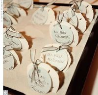 For their DIY escort cards, Lauren bought dark wood serving trays and filled them with sand so she could stand up real sand dollars inside. She tied on tags with blue ribbon.