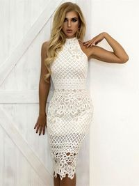 Hollow Out Sleeveless Sexy Bodycon Elegant Floral Lace Dress $34.57