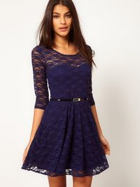 Summer Stylish Fifth Sleeve Solid Color Lace Dress with Belt