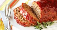 meatloaf - mix 2 lbs. hamburger, 1 cup breadcrumbs, 1 pkg. Lipton Onion Soup Mix, 1/4 c. water, 2 eggs, salt & pepper. Bake 1 hour at 350. Can top with cheese or ketchup & brown sugar mixture at the end and bake for 5 - 15 more mins.