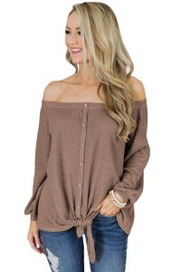 Khaki Button Front Tie Detail Off Shoulder Top $18.36