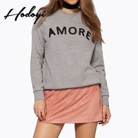 Oversized Vogue Embroidery Scoop Neck Alphabet Fall Casual 9/10 Sleeves Hoodie - Bonny YZOZO Boutique Store