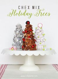 Chex mix holiday trees, a cute Christmas treat or neighbor gift idea!
