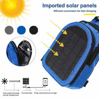 5W Solar Powered Shoulder Bag USB Charging Backpack Outdoor Camping Hiking Fishing Travel