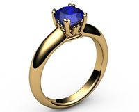 Solitaire Sapphire Filigree Gold ring, Double prongs, Unique Engagement Ring, 18K Yellow gold Ring,September Birthstone $1562.00