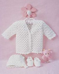 Beautiful set to crochet for baby with matching cardigan, bonnet, and booties. Truly a keepsake crocheted in Bernat Softee Baby.