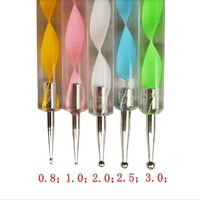 Pack of 5 Different Colours Nail Art Sticks. 13cm Assorted Colours Dotting Tools With 10 Different Sizes. £8.99