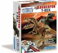 Clementoni Archeofun T-Rex Kit Dig. discover and assemble an amazing skeleton of a famous pre-historic predator. Learn more about the predator with the rich manual inside Size H6. W17cm. For ages 7 years and over. EAN: 800512561854 http://www.comparestore...
