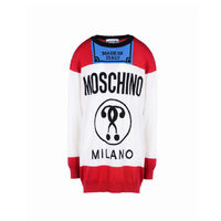 Moschino Cigarette Question Long Sleeves Short Dress White