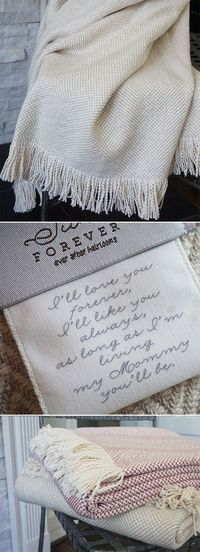 The Olivia Forever Blanket {throw} New from Swell Forever. American Made heirloom blankets for the home. Personalized message tags and monograms available. I'll love your forever. I'll like you always. 100% cotton. Machine washable. Beautiful ...