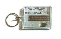 Slow but Steady Wins the Race Handmade Keyring. Mental Wellness. Positive Affirmation. £4.59