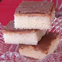 Tandy Cake Allrecipes.com Ingredients 4 eggs 2 cups white sugar 1 teaspoon vanilla extract 2 cups all-purpose flour 1 teaspoon baking powder 1 cup milk 2 tablespoons margarine 1 1/4 cups peanut butter 2 pounds milk chocolate candy bar, chopped for directi...