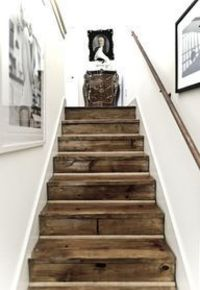 barn wood stairs- oh these look nice in that white hallway