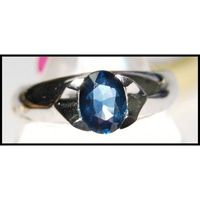 Unique 18K White Gold Gemstone Solitaire Blue Sapphire Ring [RS0050]