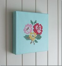 Cross stitch on canvas (Cath Kidston motif)