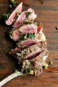 Wow!! Pan-Seared Lamb Chops with Toasted Bread Crumb Salsa - pair this with Martin Ranch Winery Syrah!LBV