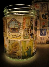 Stamp Lamp upcycled glass jar tealight candle holder by LuniqueUK