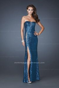 Popular Sequin Strapless Front Slit Prom Dresses Teal Ouelet Cheap