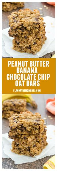 Peanut Butter Banana Chocolate Chip Oat Bars are soft and chewy oat bars packed with peanut butter, bananas, and rolled oats. They're gluten-free, made in one bowl, and are perfect for breakfast or snacks!