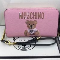 Moschino Paper Bear Leather Wallet Pink