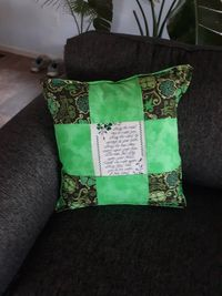 """Green Irish Blessing Pillow- St.Patricks Day Home Decor- Green Clover Patchwork Pillow- Embroidered """"May the road rise.""""- Square Pillow $45.00"""