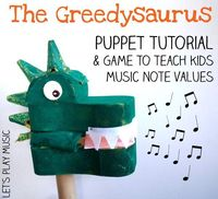 The Greedysaurus is a fun music note values game that teaches children note naming and values. This post also includes an upcycled dinosaur puppet tutorial.