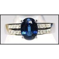 Diamond Solitaire Natural 18K White Gold Blue Sapphire Ring [RS0095]