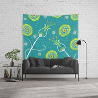 Yellow & White Floral Spring Wall Tapestry.