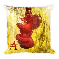 Red Splash on Yellow Square Pillow $25.00