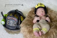 Heart melted!! Little Firefighter Newborn Set - Includes Crochet Pants and Fire Hat - Newborn, Infant, Boy/Girl/Neutral, Photo Prop