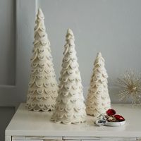 These warm and wintry trees are hand felted by artisans in Nepal from 100% wool and finished with silver glitter. Arrange a few on a console, coffee table or windowsill to create an understated, snowy vignette.