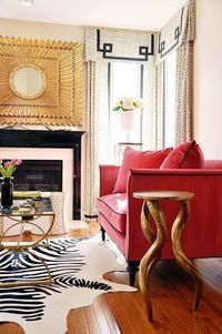 Pink and gold, zebra rug - Living room by Erika Bonnell, Inc. Interior Design (DC metro area)