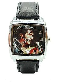 Colorful ELVIS on a Mens Silver Square Watch with Leather Band $29.99
