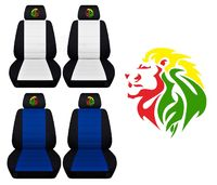Two Front Two Tone Seat Covers with anm Embroidered Rasta Lion Fits Honda CR-V Side Airbag Friendly $89.99