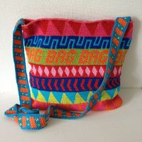 crocheted bags, tapestries and bags.