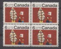 A Cool Block of 4 Christmas Stamps Issued by Canada in 1970