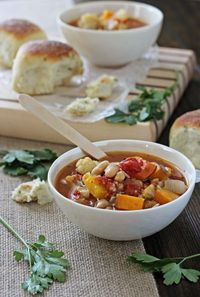 Roasted Vegetable Soup with Couscous - Cookie Monster Cooking