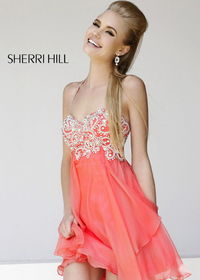 Coral Short Beaded Top Layered Halter 3878 Party Dress