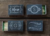Create a customized matchbox with your monogram in a chalkboard-style printable label! The monogram is editable to personalize as a gift or for your home.