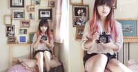 I really love this girls faded pink dip dyed hair and her cute bangs!