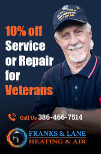 Franks and Lane Heating and Air is providing 10% off on service or repair for Veterans.Contact us at 386-466-7514 to grab the deal.