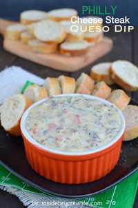Philly Cheese Steak Queso Dip - the taste of a Philly Cheese Steak sandwich in a melted queso dip.