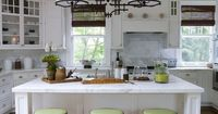 In Good Taste: Lee Ann Thornton love a white kitchen with bamboo blinds