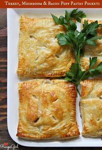 Sharing a recipe for Turkey, Mushroom and Bacon Puff Pastry Pockets. How-to photographs included.