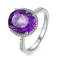 Gullei.com Personalized 3 Carat Birthstone Amethyst Women Engagement Ring