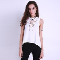 2017 Summer Sexy Vintage Hollow Out Blouse Casual Sleeveless Long Loose Top $23.96