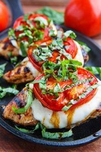 Fresh and tasty balsamic marinated grilled chicken topped with melting fresh mozzarella, ripe tomato and plenty of basil!