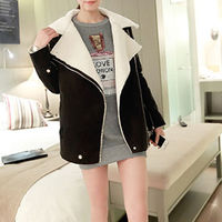 INCLINED ZIPPER WIDE LAPEL LOOSE THICK PADDED JACKET MOTORCYCLE TRENCH COAT $43.99